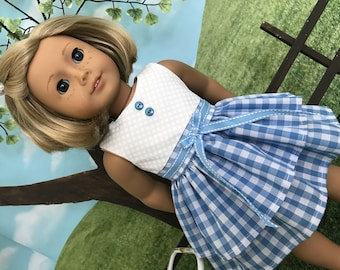 American made summer or spring doll dress for American Girl doll or similar 18 inch doll