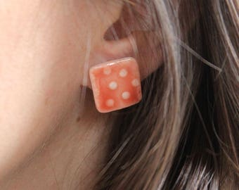 Square porcelain stud earrings