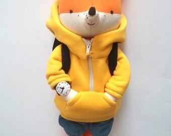 OLLE the fox. cute stuffed fox. made-to-order. eco toy. stuffed fox. woodland animals. minimalistic toy. modern fox toy