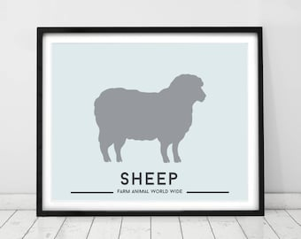 Farm animals, wall art. Kids prints, farm decor, Sheep, nursery decor, nursery prints, art for babies, country style.