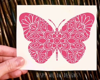 Mandala Butterfly Vinyl Decal Sticker, Detailed, Floral, Intricate, Butterfly, Tumbler Decal, Car Decal, Car Sticker, Butterfly, Mandala