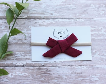 Burgundy Hand Tied Bow, Hair Clip, Hair Bow, Toddler Bows, Baby Bows, Girl Hair Bow, School Girl Bow, Hair Accessories