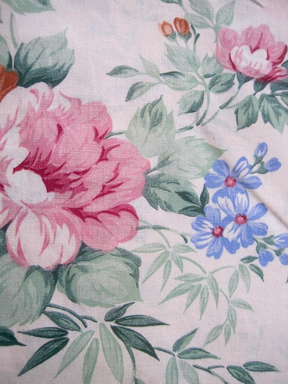 Floral Sheet Fabric French Print Vintage Shabby Chic Reclaimed Florals From Pommedejour
