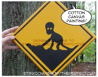 Dover Demon Crossing Sign - hand painted canvas painting xing sign american cryptid cryptozoology Massachusetts alien cryptozoologist gift