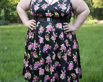 SALE Plus Size Dress, Womans Floral Dress Black and Pink Floral Plus Size Dress, Spring Summer Plus Size Dress,  Black Dress, Womens Dress