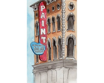 Cincinnati Color Company Watercolor Print, Cincinnati, Ohio, Over the Rhine