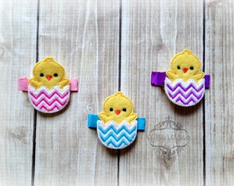 Easter Chick hair clip Chick egg hair clip Easter hair clip Chevron Egg Pick one or two. Pick Left side or Right.