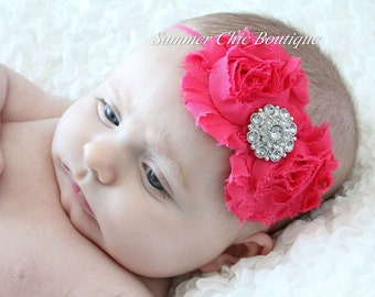 Bright Pink Baby Headband, Infant Headband, Newborn Headband, Girls Headband, Bright Pink Headband - Shabby Chic Headband