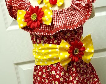 Girls Red Yellow Daisy Summer Country Girl Pageant Casual Wear Outfit of Choice