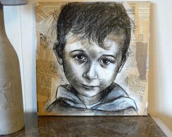 """SALE painting """"Mine 7""""-40% off! 40 x 40 cm portrait little boy"""