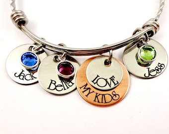 Love My KIDS - Personalized Bangle Bracelet - Mom Grandma Jewelry - Mommy Grandmother
