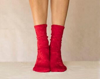 Red Velvet Socks. Handmade Women's Socks. Homemade Socks