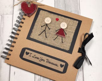 Gift for boyfriend etsy i love you because scrapbook valentines gift boyfriend gift girlfriend gift anniversary negle Images
