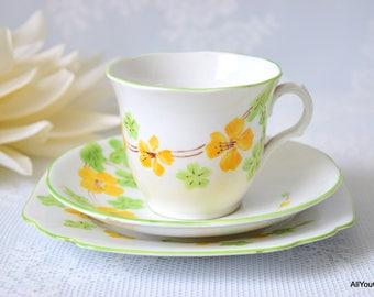 Vintage Tea Trio, Vintage Tea Set, Vintage Wedding Favour, Melba Bone China, Vintage China Trio,  Daisies by Melba China, c 1950 s