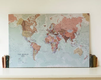 The online map store by mapsinternationalusa on etsy executive map of the world canvas wall hanging home decor push pin publicscrutiny Images