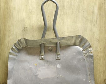 Large Industrial Dust Pan - Vintage Cleaning Supplies - Metal - Silver - Aged