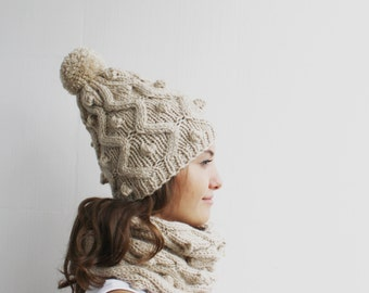 Handknit Wool Beige Loop Scarf And Big pompom Hat Warm set For Women For My Mom  Christmas Gift