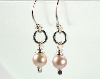 Pearl Sterling Silver Earrings, Lavender Pearl Dangle Earrings, Bridal Earrings, Bridesmaid Earrings
