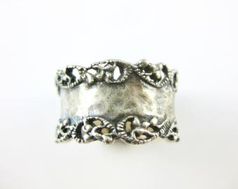 Size 10 Vintage Sterling Silver Wide Ring Band