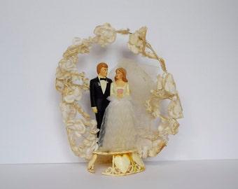 Vintage Bride and Groom Wedding Cake Topper Floral Arch #34