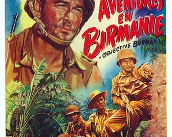 Objective Burma 1945 Errol Flynn movie poster reprint 19x12.5 inches