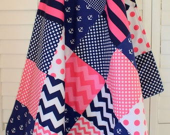 Baby Blanket Nursery Decor Minky Baby Blanket Baby Quilt Baby Shower Gift Nautical Anchor Baby Girl Pink Navy Blue White Anchors