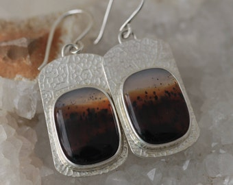 Montana Agate Sterling Earrings - Free Ship