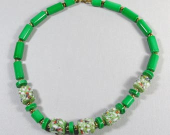 Green wedding cake ceramic tube beads necklace.