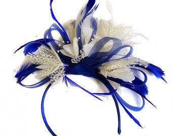 Royal Blue & Cream Feathers Fascinator On Headband