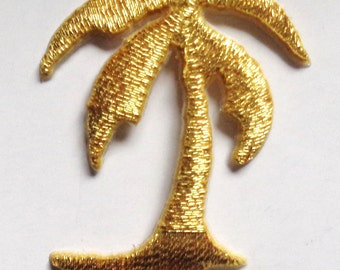 Iron On Patch Applique - Palm Tree Gold