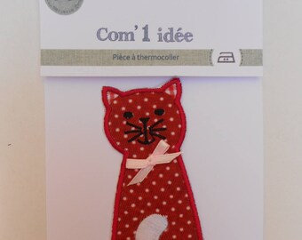 Applique patch iron red cat pattern