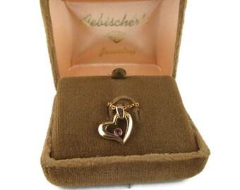 Vintage Aebischer's Amethyst Heart Pendant Gold Tone Necklace - in Original Box