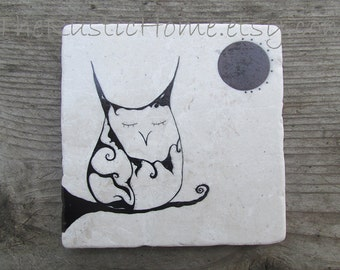 Stone marble coasters The owl queen rustic owl coasters marble stone tile coaster made to order individually 4x4 made to order