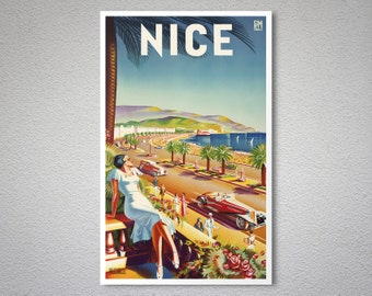 Nice  France  Travel Poster - Poster Print, Sticker or Canvas Print / Gift Idea