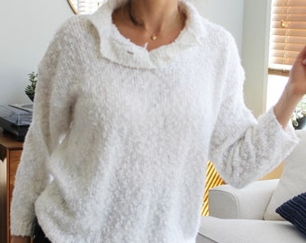 White Funky Chunky 80s Oversized Pullover