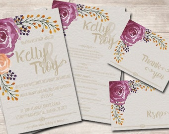 Wedding Watercolor Invitation Printable
