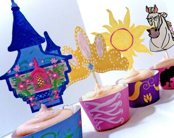 Instant Download-  Printable DIY - Rapunzel  Party Decorations Cupcake Toppers and Wrappers