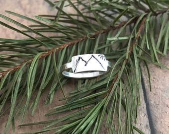 Mountain and Sun Ring, Sterling Silver, Hand Stamped, Rustic Mountains and Sun Ring
