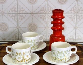 Vintage Retro 1970's Hornsea Fleur Teacup and saucer set of 3