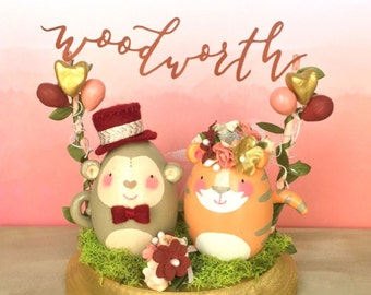 Custom Animal Cake Topper with Floral Arch or Bunting