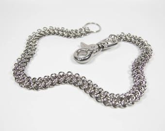 Elfweave Wallet Chain, Stainless Steel, Chainmaille Biker Wallet Chain, Chainmail Chain, Trouser Chain, Biker Chain Belt, Swivel Clasp