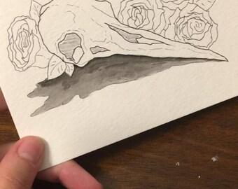 Floral Hummingbird Skulls