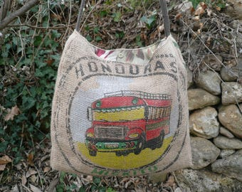 Burlap handbag // bohemian bag // chic hippie bag // recycled coffee bag // boho bag