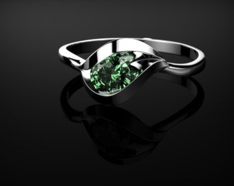 Silver Emerald Engagement Ring Emerald Ring Sterling Silver Ring Emerald Ring Unique Engagement Ring Emerald in Silver