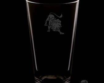 16 Ounce Leo Personalized Rim Tempered Pint Glass