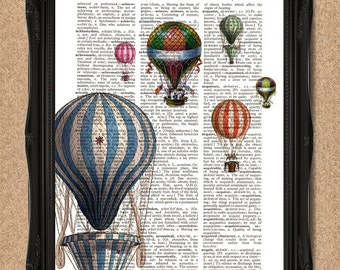 Vintage Hot Air Balloons Dictionary Print Upcycled Book Art 8x10 A128
