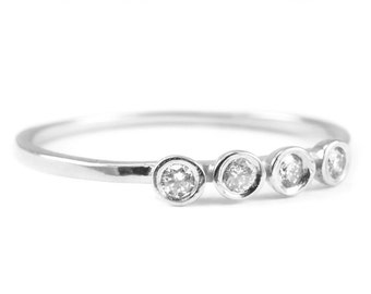 4 Diamonds Silver Ring, Diamond Silver Ring, Diamond Ring, Engagement Silver Ring