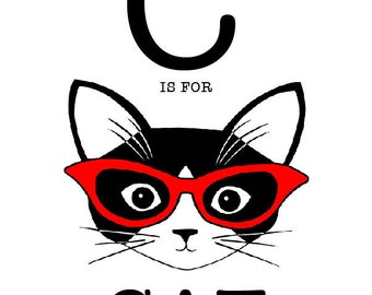 C is for Cat 8 x 10 Art Print