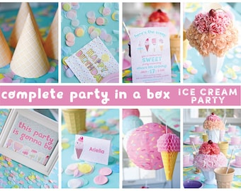 Party in a Box, Printable Digital Sweet Treats Ice Cream, Complete Party Kit Package Kawaii Summer Popsicle, You Print, Sundae Bar, Birthday