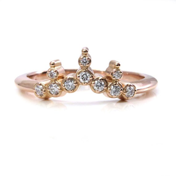 Tiny Diamond Crown Engagement Ring - Rose Gold Wedding Band